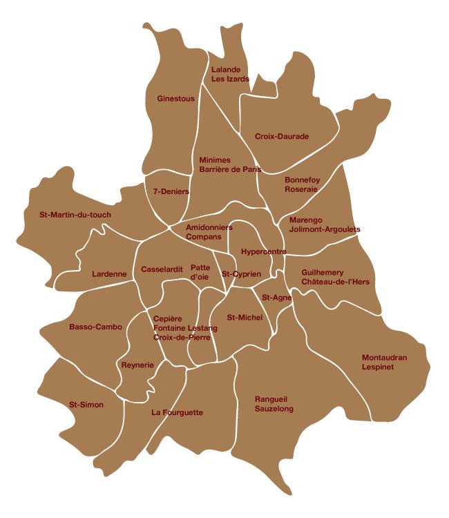 Toulouse - les quartiers